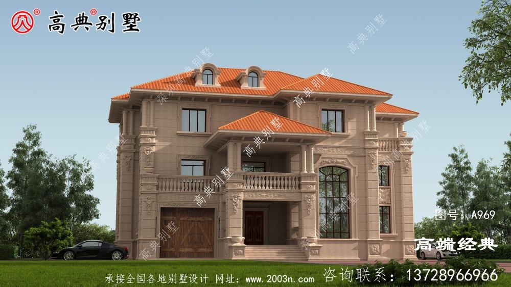 农村三层大户型别墅外观图