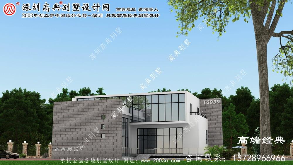 石景山区现代风格二层别墅外观设计图。